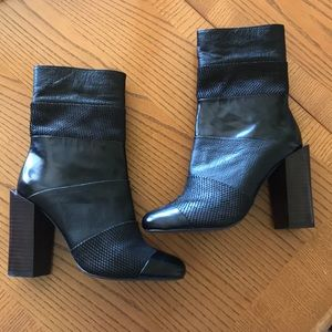 Jeffrey Campbell snake patent leather boots wood